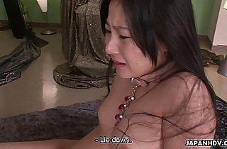 Kinky Japanese babe riding a stiff wang